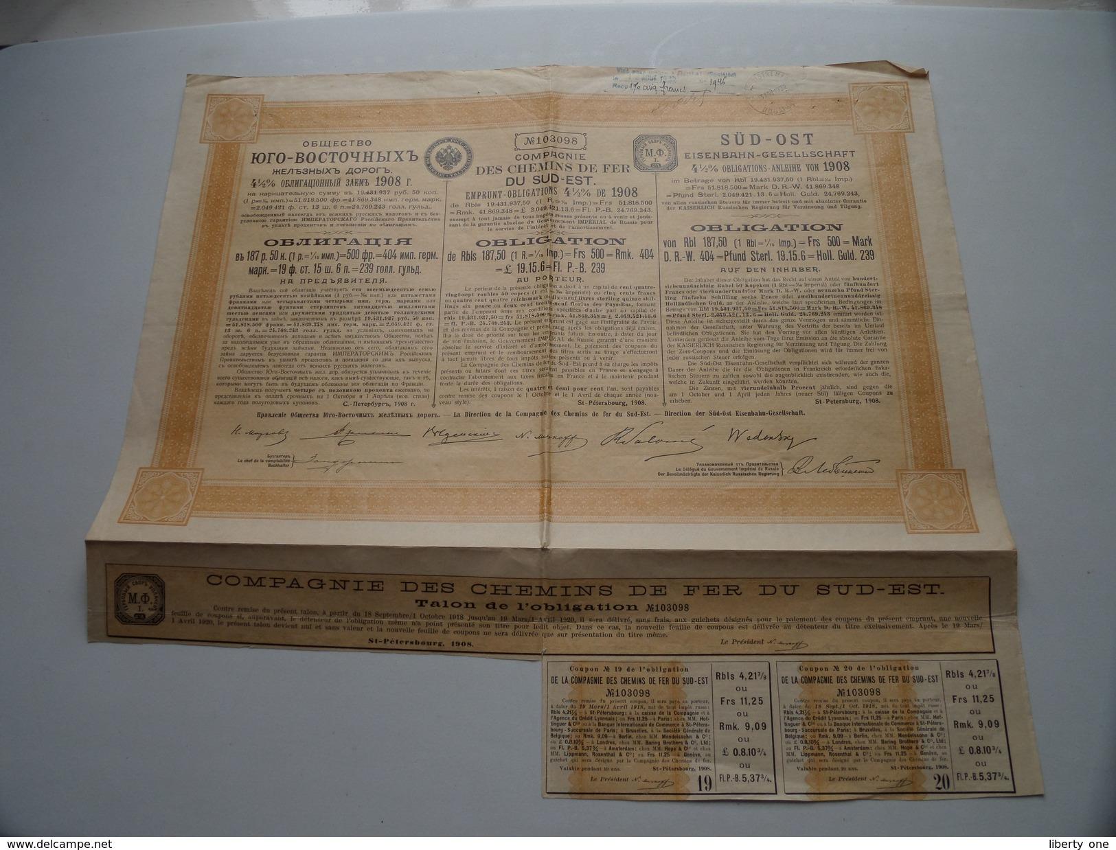 Des Chemin De Fer DU SUD-EST / Obligation N° 103098 - 1932 ( Voir Photo Pour Detail )! - Chemin De Fer & Tramway