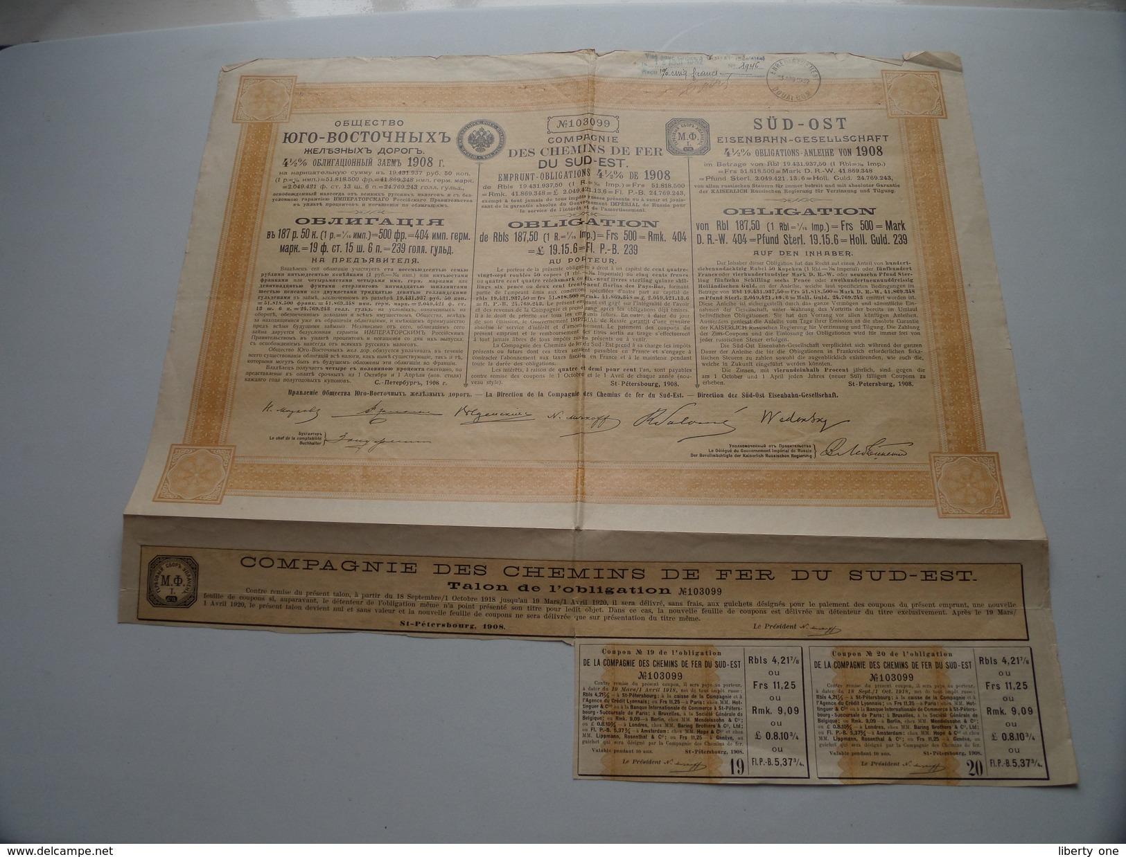 Des Chemin De Fer DU SUD-EST / Obligation N° 103099 - 1932 ( Voir Photo Pour Detail )! - Chemin De Fer & Tramway