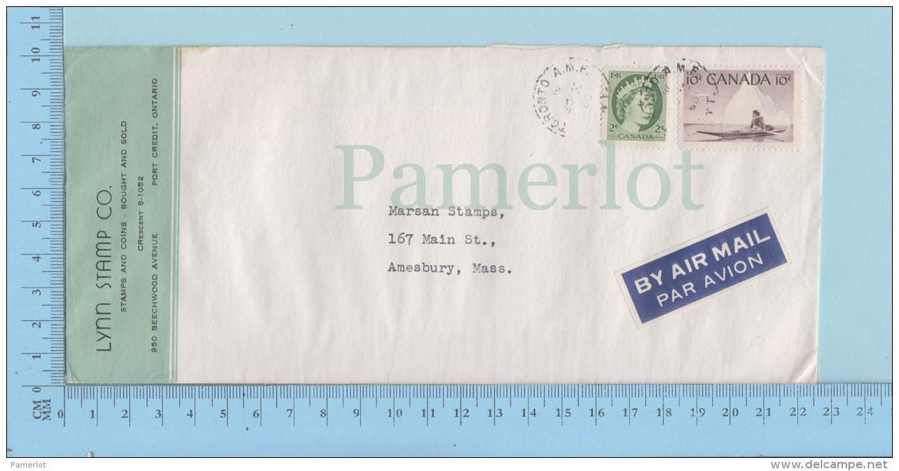 Canada - 1960,  Air Mail, #328, #231, Eskimo Hunter, Cover Toronto A.M.F., Stamp - 1952-.... Règne D'Elizabeth II
