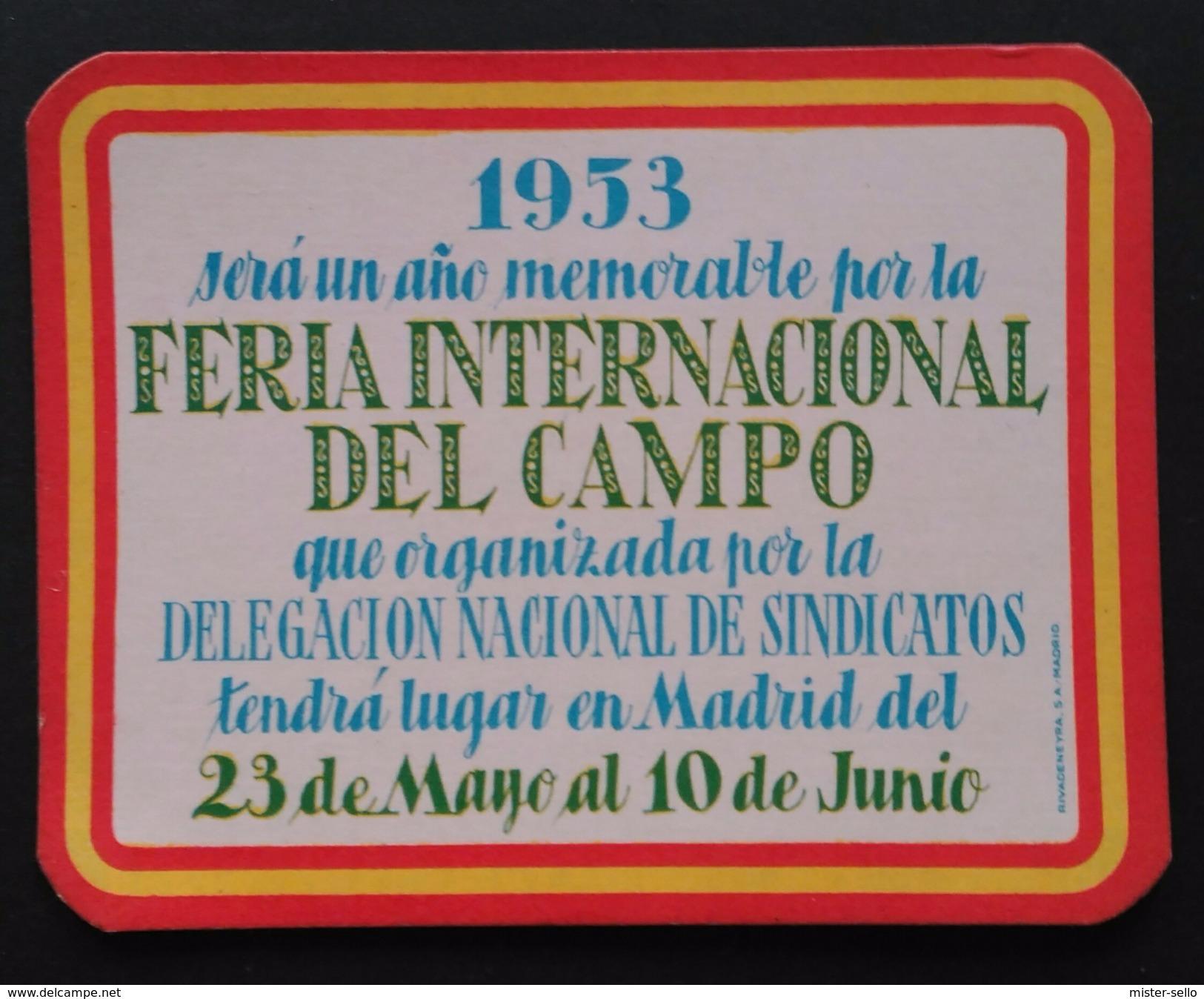 1953 CALENDARIO FERIA INTERNACIONAL DEL CAMPO. - Calendarios