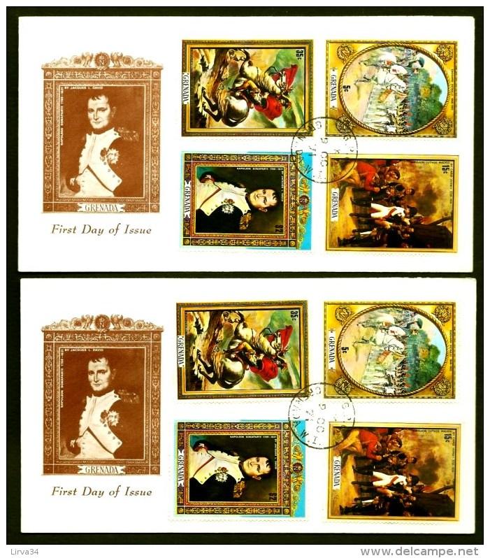 LOT 2 FDC NAPOLÉON 1er- ILE DE LA GRENADE- 8 TIMBRES DENTELÉS - CAD GRENADA 1971- - Napoleon