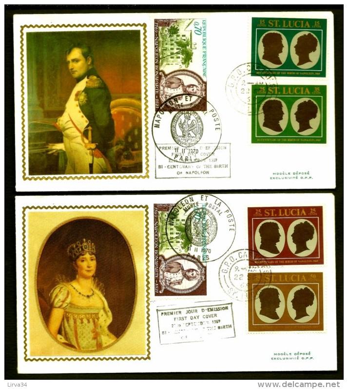 LOT 2 FDC NAPOLÉON 1er- STE LUCIA- 4 TIMBRES DENTELÉS- CAD STE LUCIA  DU 22-9-69 + TIMBRES FRANCE + MONACO - Napoleon