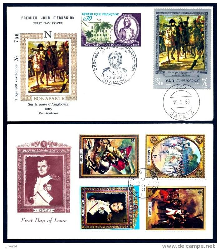 2 FDC NAPOLÉON 1er- YEMEN + GRENADA- TIMBRES DENTELÉS- CAD DU BICENTENAIRE1969 ET 1971 - - Napoleon