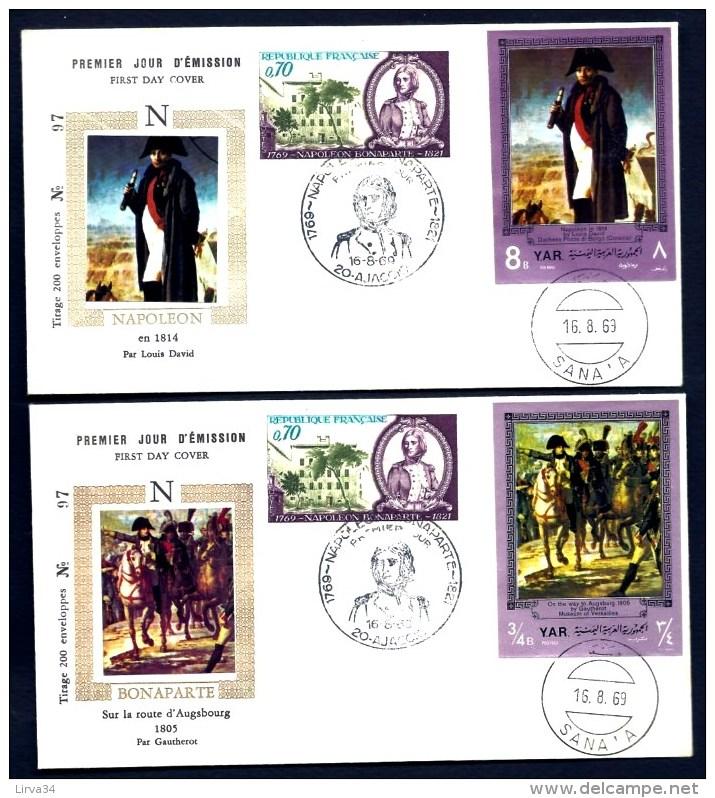 LOT 2 FDC NAPOLEON 1er- YEMEN- TIMBRES NON DENTELÉS -CAD AJACCIO DU 16-8-69 + SANA'A + TIMBRE FRANCE - Napoleone