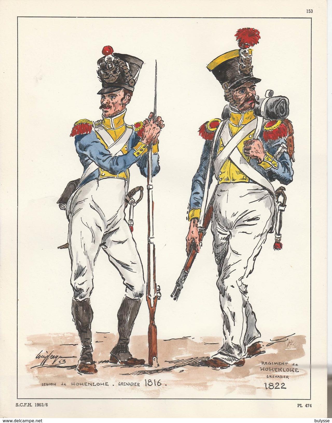Planche Aquarellee  Legion De Hohenlohe Grenadier 1816 1822 - Uniforms