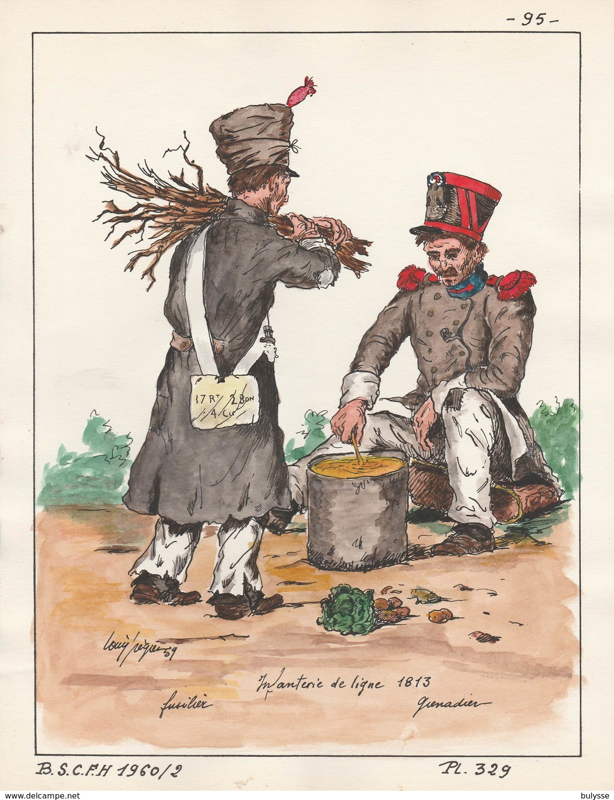 Planche Aquarellee Infanterie De Ligne 1813 - Uniforms