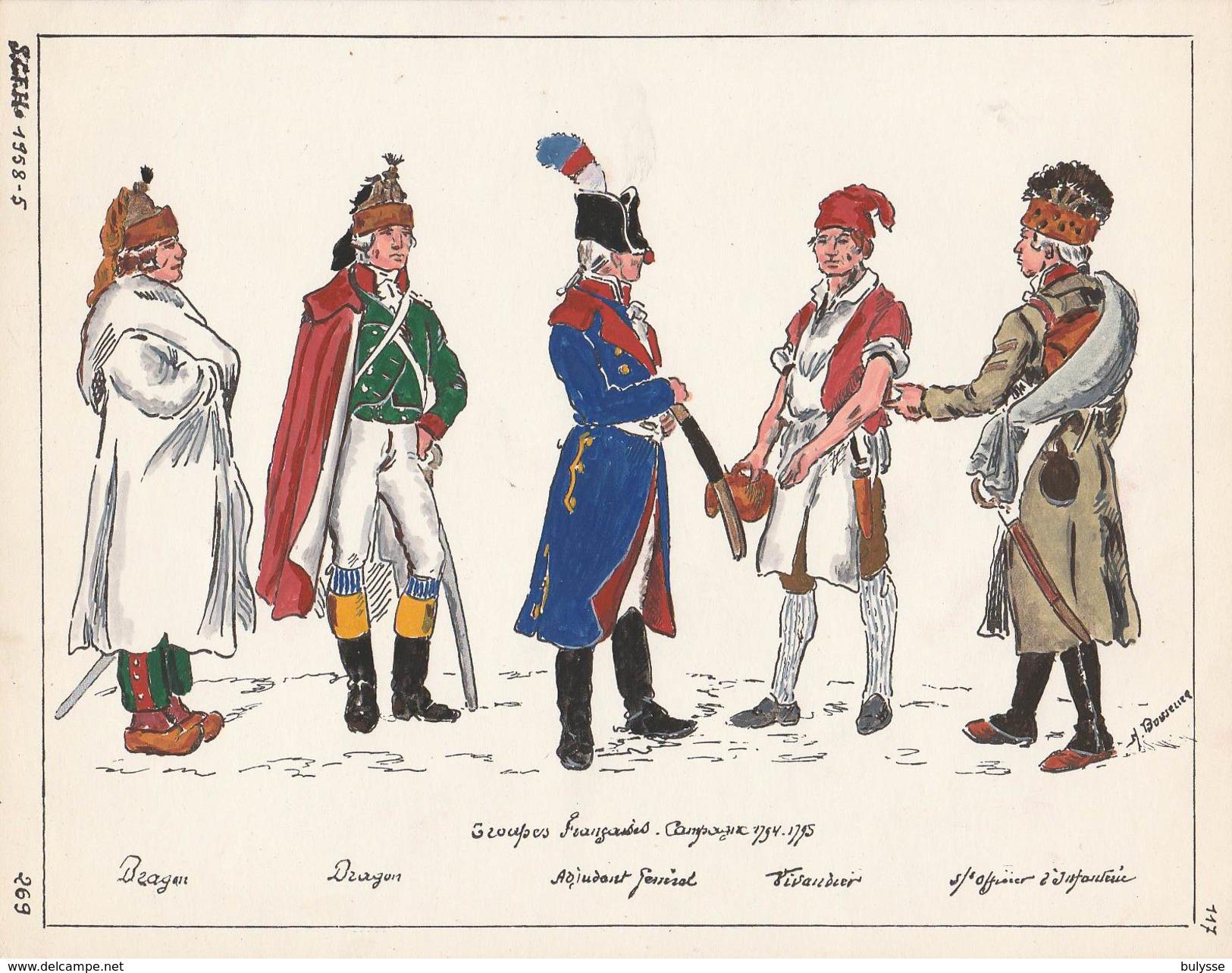 Planche Aquarellee Troupes Francaises Campagne 1794 1795 - Uniforms