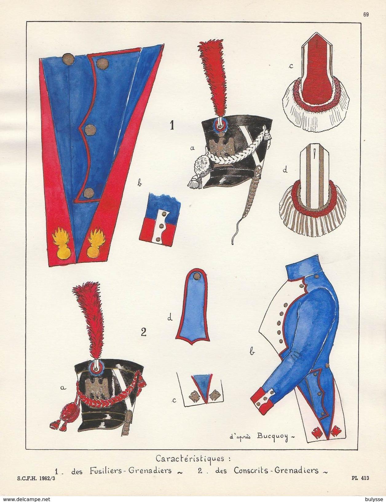 Planche Aquarellee Caracteristiques Des Fusiliers Grenadiers Des Conscrits Grenadiers - Uniforms
