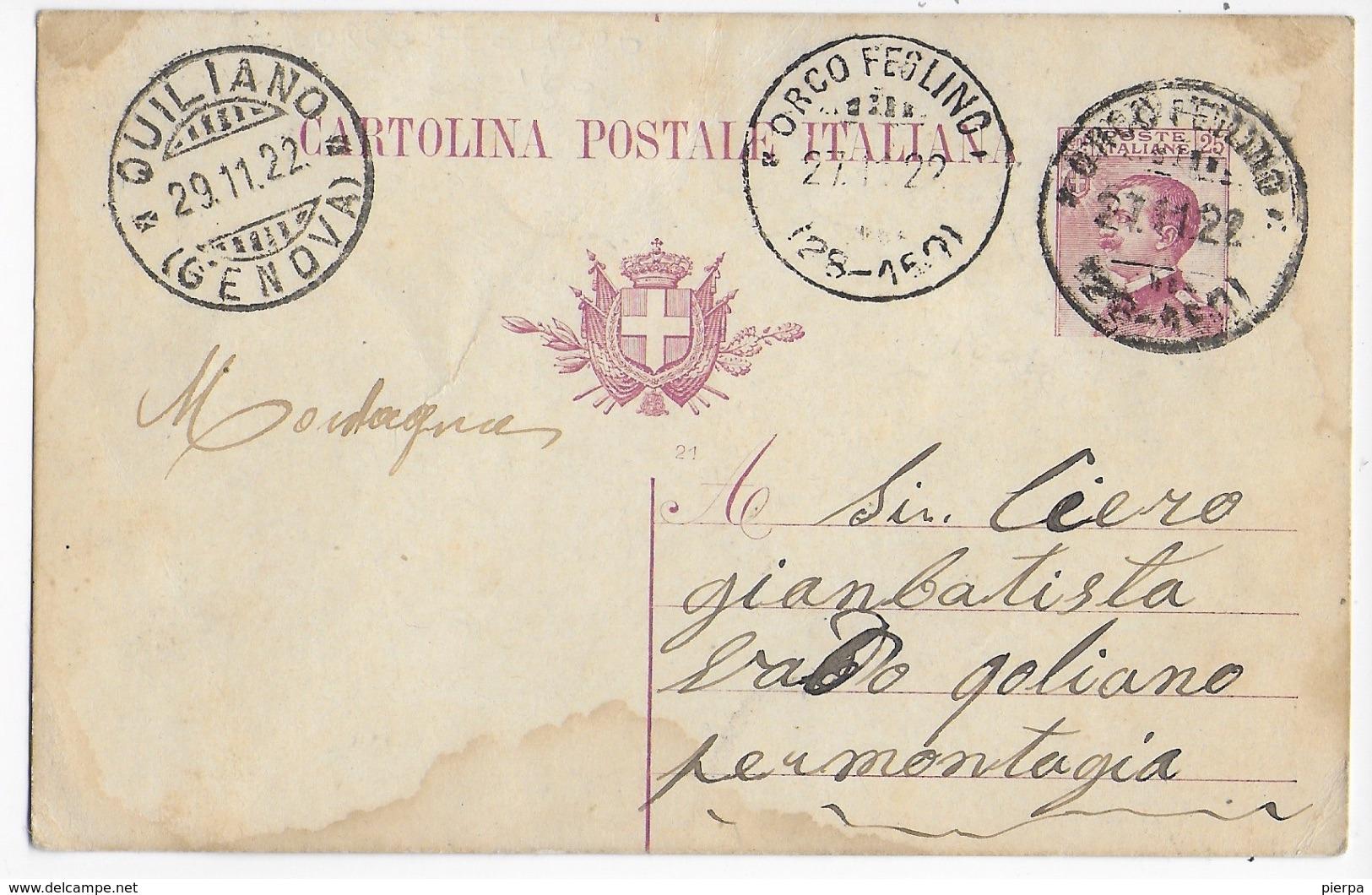 STORIA POSTALE REGNO - ANNULLO FRAZIONARIO ORCO FEGLINO (GE) 28-160 SU INTERO MICHETTI 27.11.1922 - 1900-44 Vittorio Emanuele III