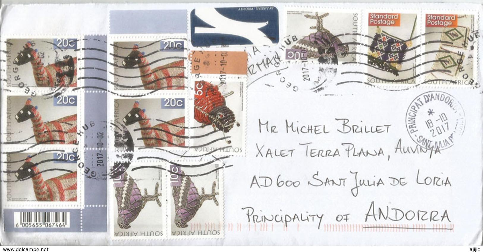 Belle Lettre D'Afrique Du Sud, Adressée ANDORRA, Avec Timbre à Date Arrivée - Afrique Du Sud (1961-...)