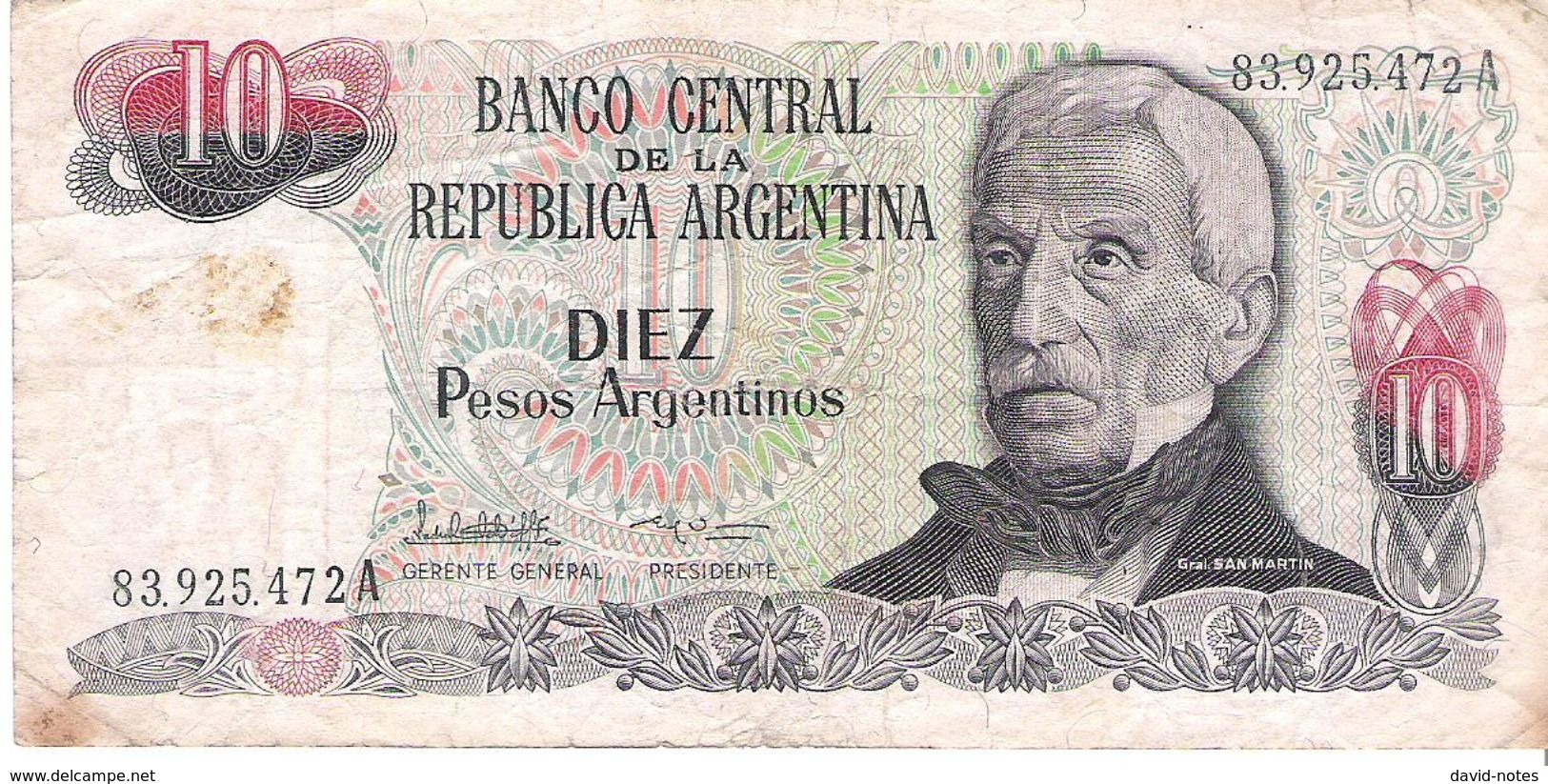 Argentina - Pick 313 - 10 Pesos Argentinos 1983 -1984 - VG - Argentine