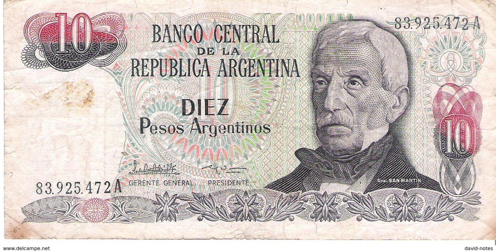 Argentina - Pick 313 - 10 Pesos Argentinos 1983 -1984 - VG - Argentina