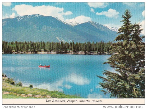 Canada Jasper Canoeing On Lac Beauvert