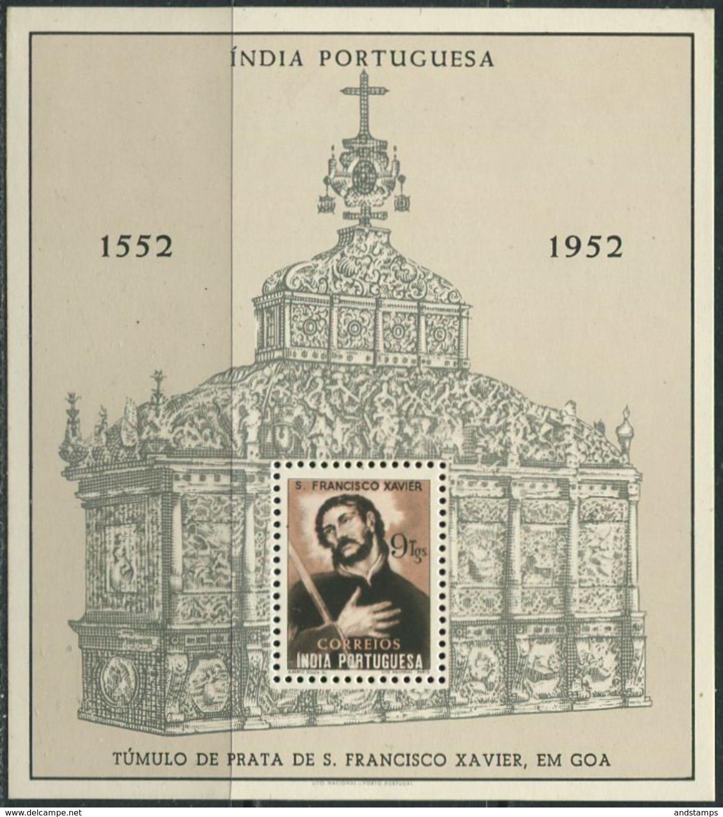 India Portuguesa 1952 Michel Bl.#3 MNH/Luxe. 400th Anniversary Of The Death Of St. Franz Xaver. (Ts27) - Portuguese India