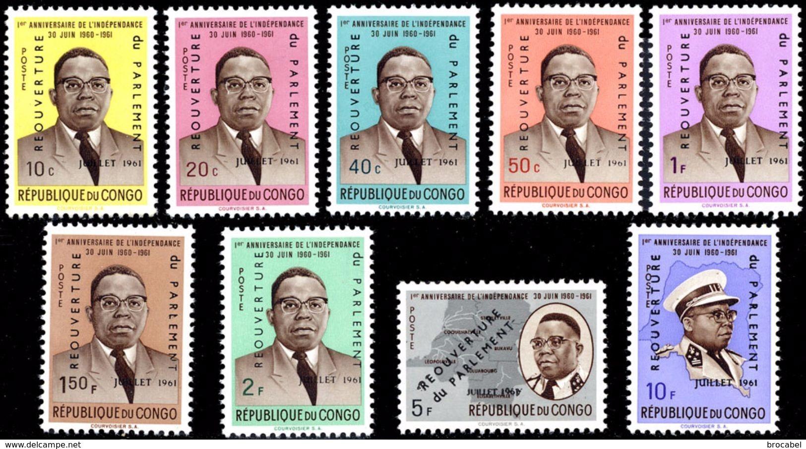 Congo 0445/53**  Kasavubu Surchargé  MNH - República Democrática Del Congo (1964-71)