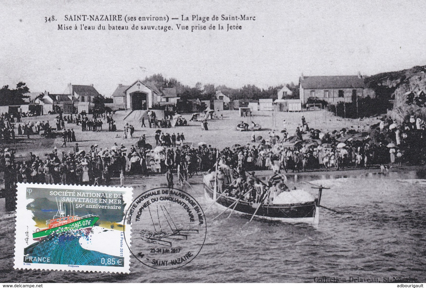 Carte Maximum Snsm 2017 50e Anniversaire Saint Nazaire Societe Nationale De Sauvetage En Mer Obliteration 23 24 Juin - Cartoline Maximum
