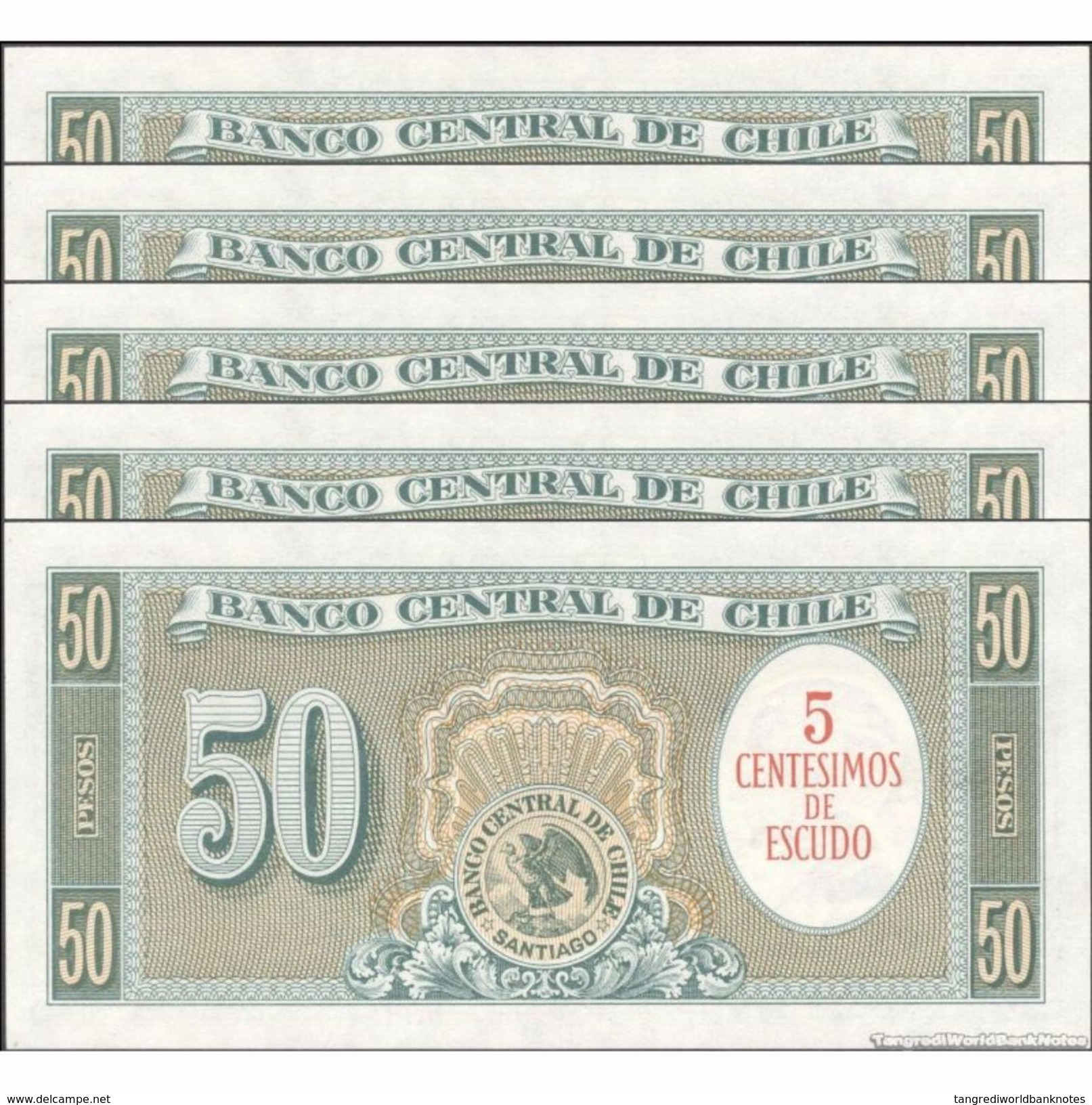 TWN - CHILE 126b1 - 5/50 Centesimos/Pesos 1960-61 DEALERS LOT X 5 - Serie C 21-25 - Signatures: Mackenna & Ibañez UNC - Chile