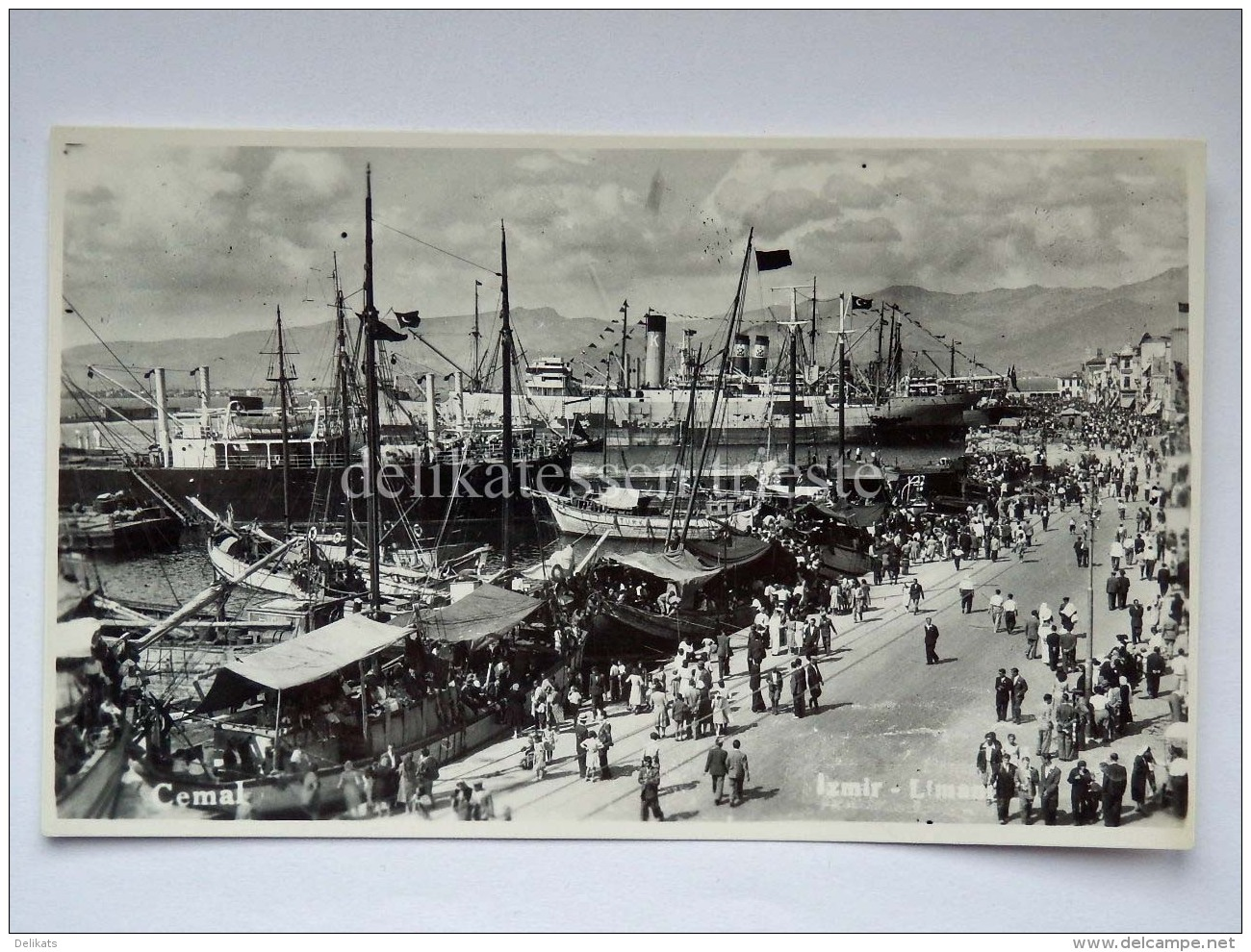TURCHIA Türkiye IZMIR SMIRNE LIMANI Port Ship Boat AK Old Postcard - Turchia