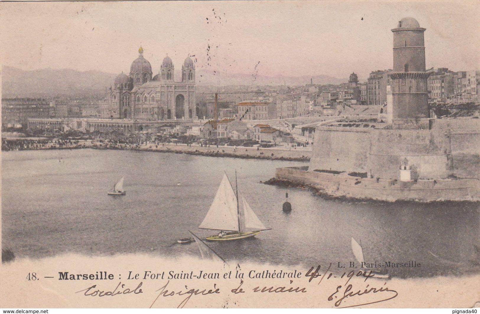 Cp , 13 , MARSEILLE , Le Fort St-Jean Et La Cathédrale - Monuments