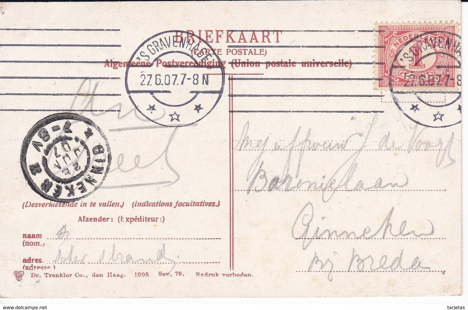 POSTAL DE HOLANDA DE SCHEVENINGEN DEL AÑO 1907 GEZITCHT OP HET KURHAUS - Scheveningen
