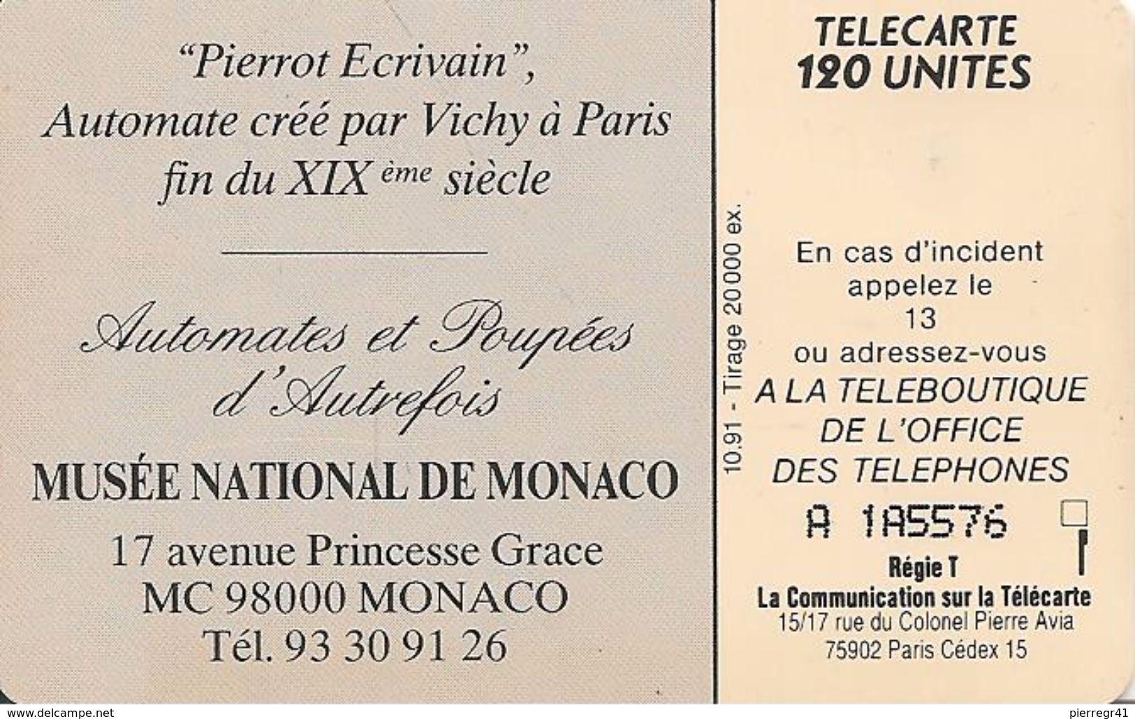 CARTE°-PUBLIC-MONACO-120U-MF 20-SO3-PIERROT L ECRIVAIN Série N° A 1A5576-UTILISE-TBE - Monaco
