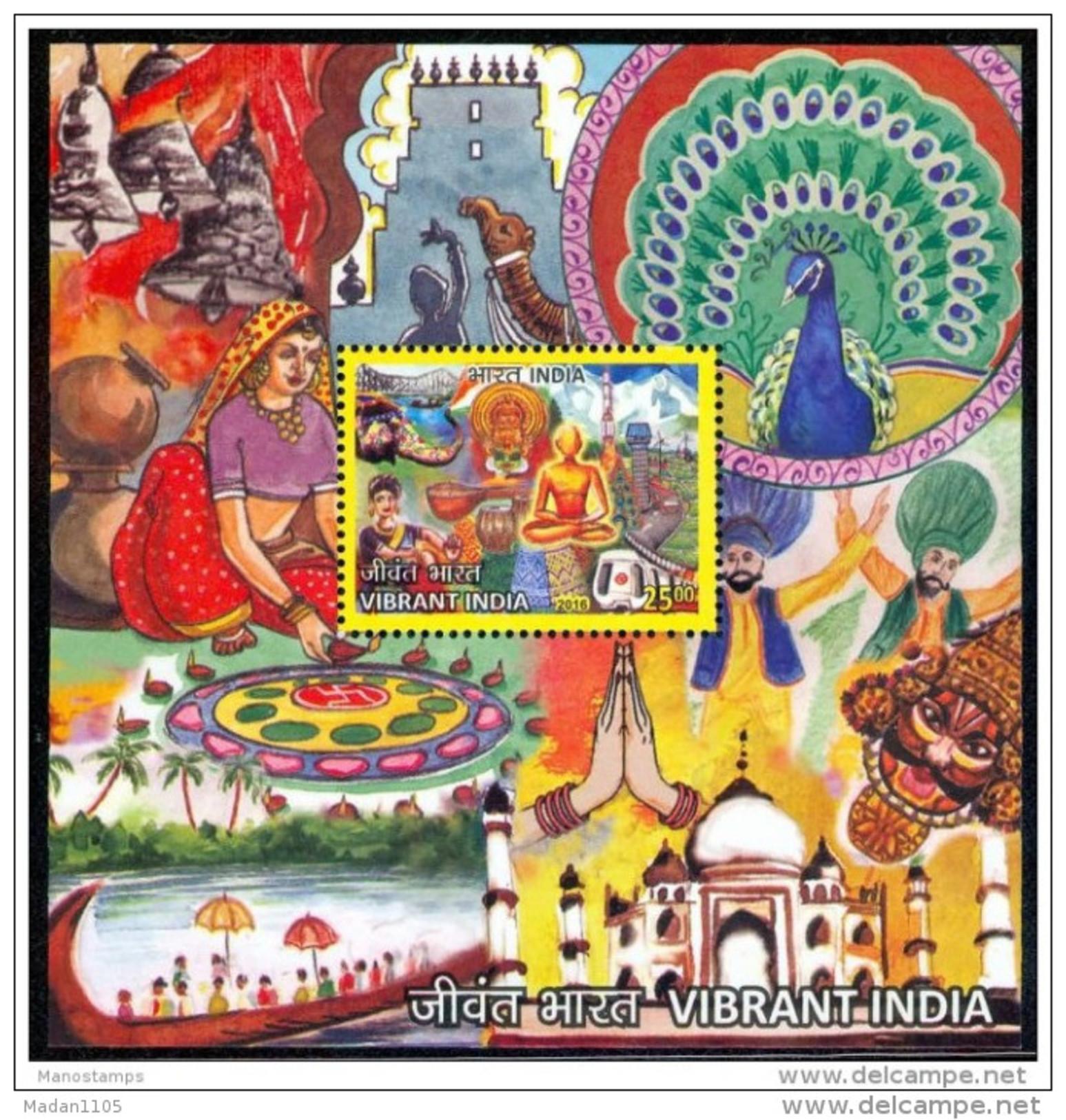 INDIA, 2016, Vibrant India, Buddha, Taj Mahal, Colours, Miniature Sheet,   MNH, (**) - India