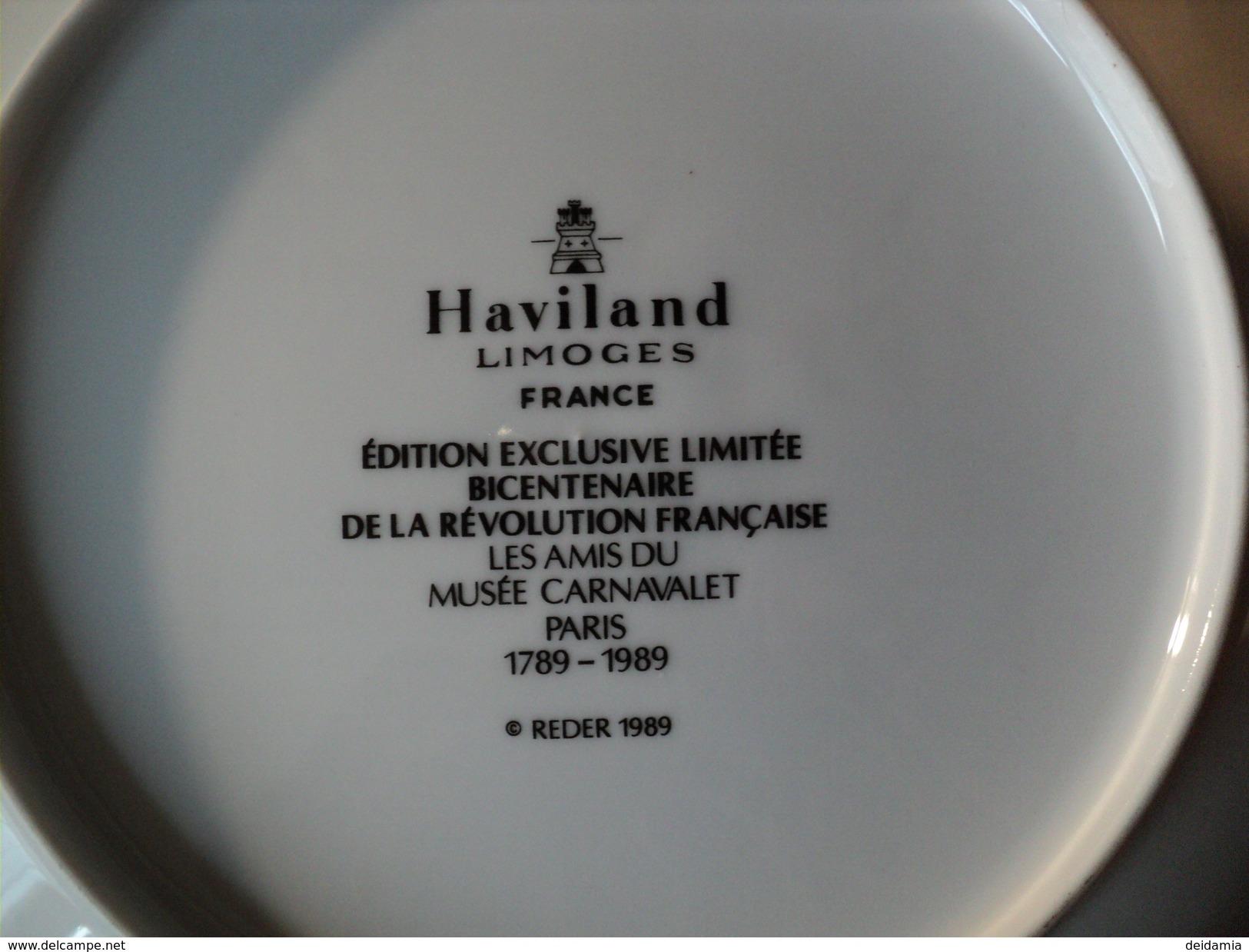 ASSIETTE HAVILAND. LIMOGES. 1989. PLUVIOSE. REDER EDITIONS DU BICENTENAIRE - Plates