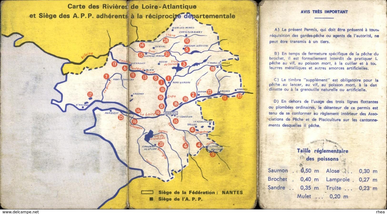 PECHE - Pêche à La Ligne - Carte De Pêche Et De Pisciculture 1972 - Loire Atlantique - Non Classés