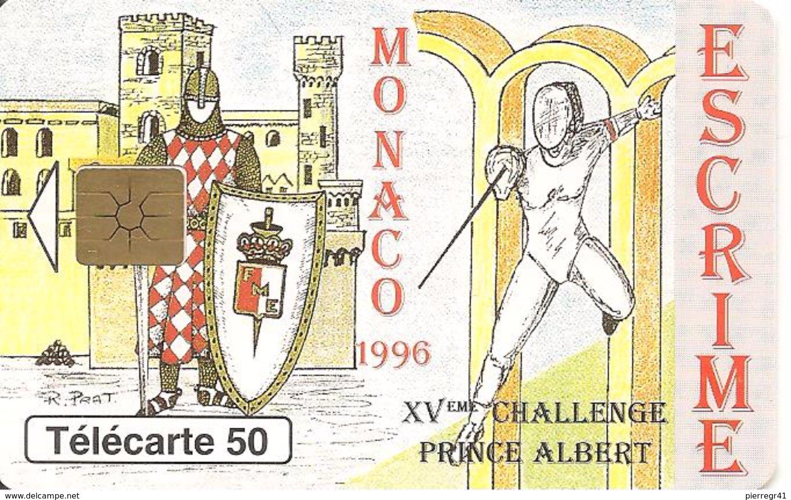 CARTE°-PUBLIC-MONACO-50U-MF40-GEM B-05/96-ESCRIME-UTILISE-TBE - Monaco