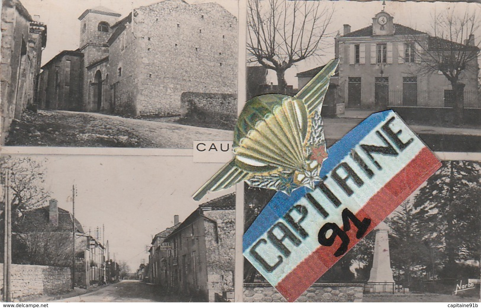 CPSM CAUSSENS GERS L EGLISE LA MAIRIE ROUTE NATIONALE MONUMENT - Autres Communes