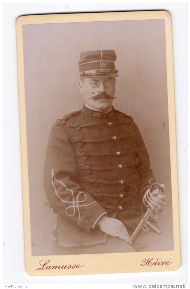 Le Havre Homme En Uniforme Militaire Ancienne Photo CDV Lamusse 1900 - War, Military