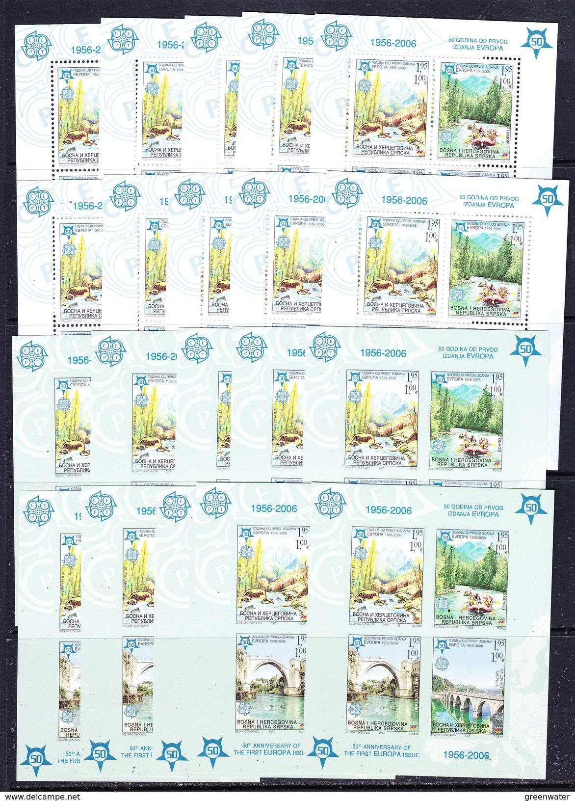Bosnia/Herzegovina Serbia 2005 50Y Europa  2 M/s Perf & IMPERF100x  ** Mnh (F133) - Europese Gedachte