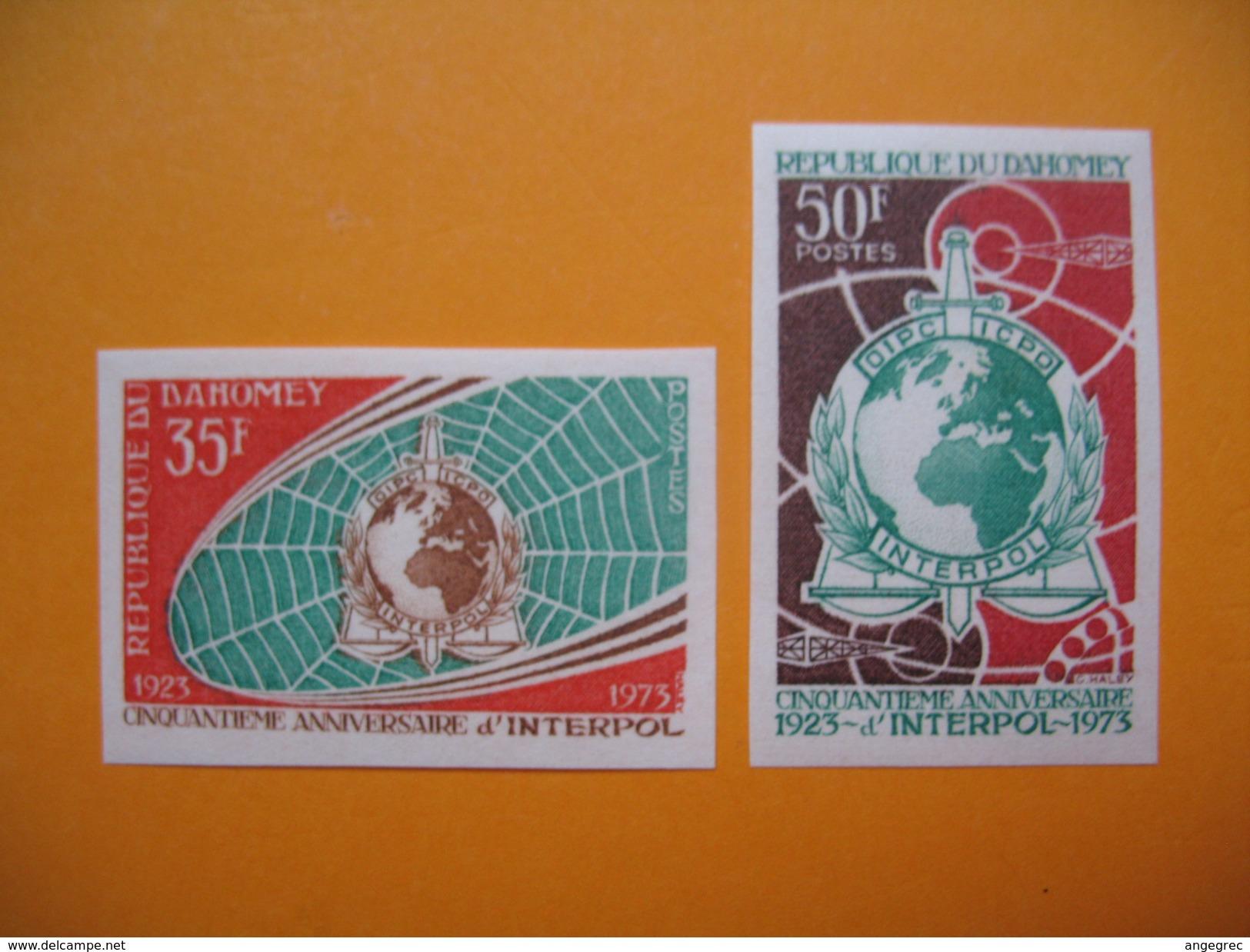 Timbre Non Dentelé   N° 324 Et 325  50 ème Anniversaire D'Interpol   1973 - Bénin – Dahomey (1960-...)