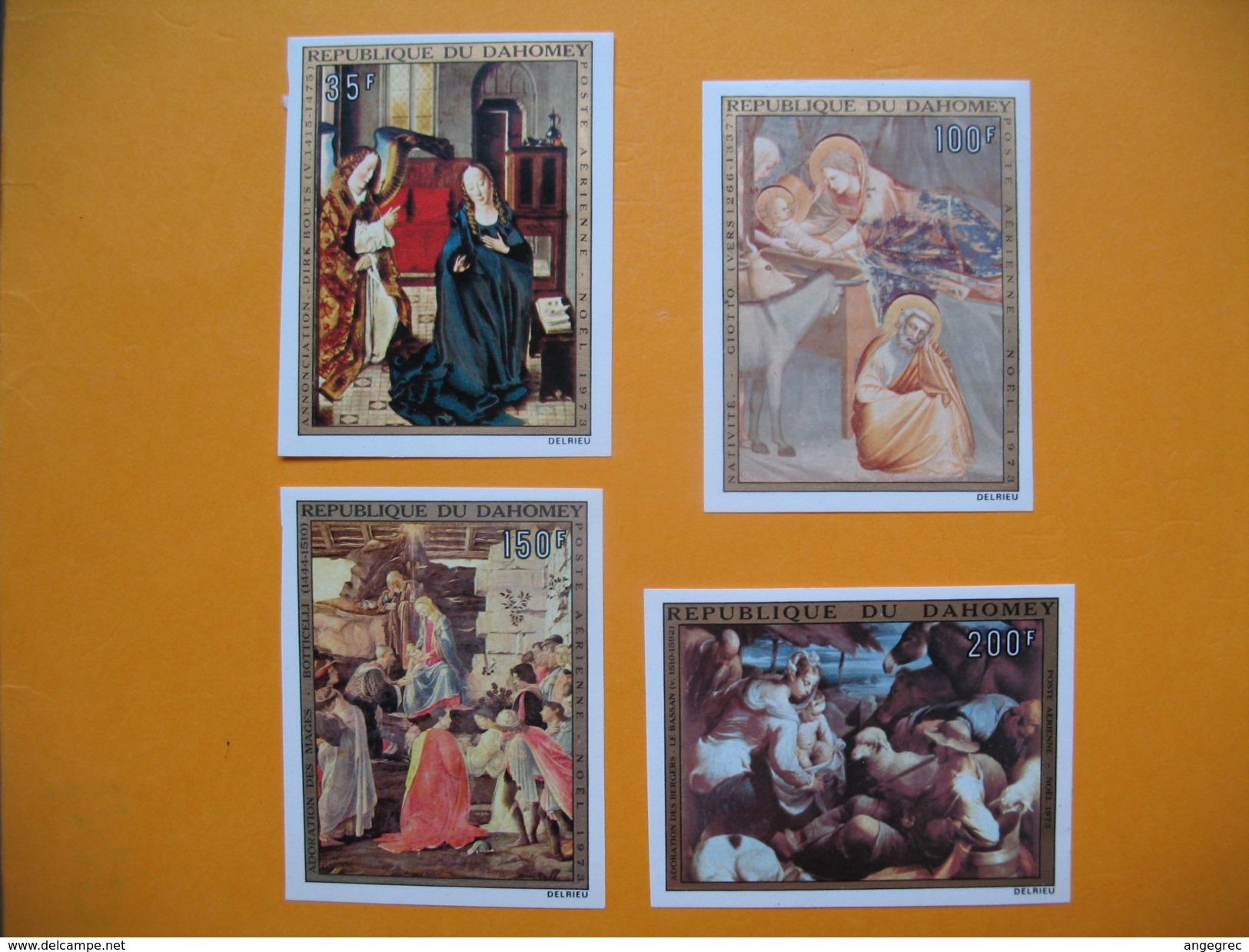 Timbre Non Dentelé   N° PA 199 à 202  Noël  (Tableaux Religieux)  1973 - Bénin – Dahomey (1960-...)