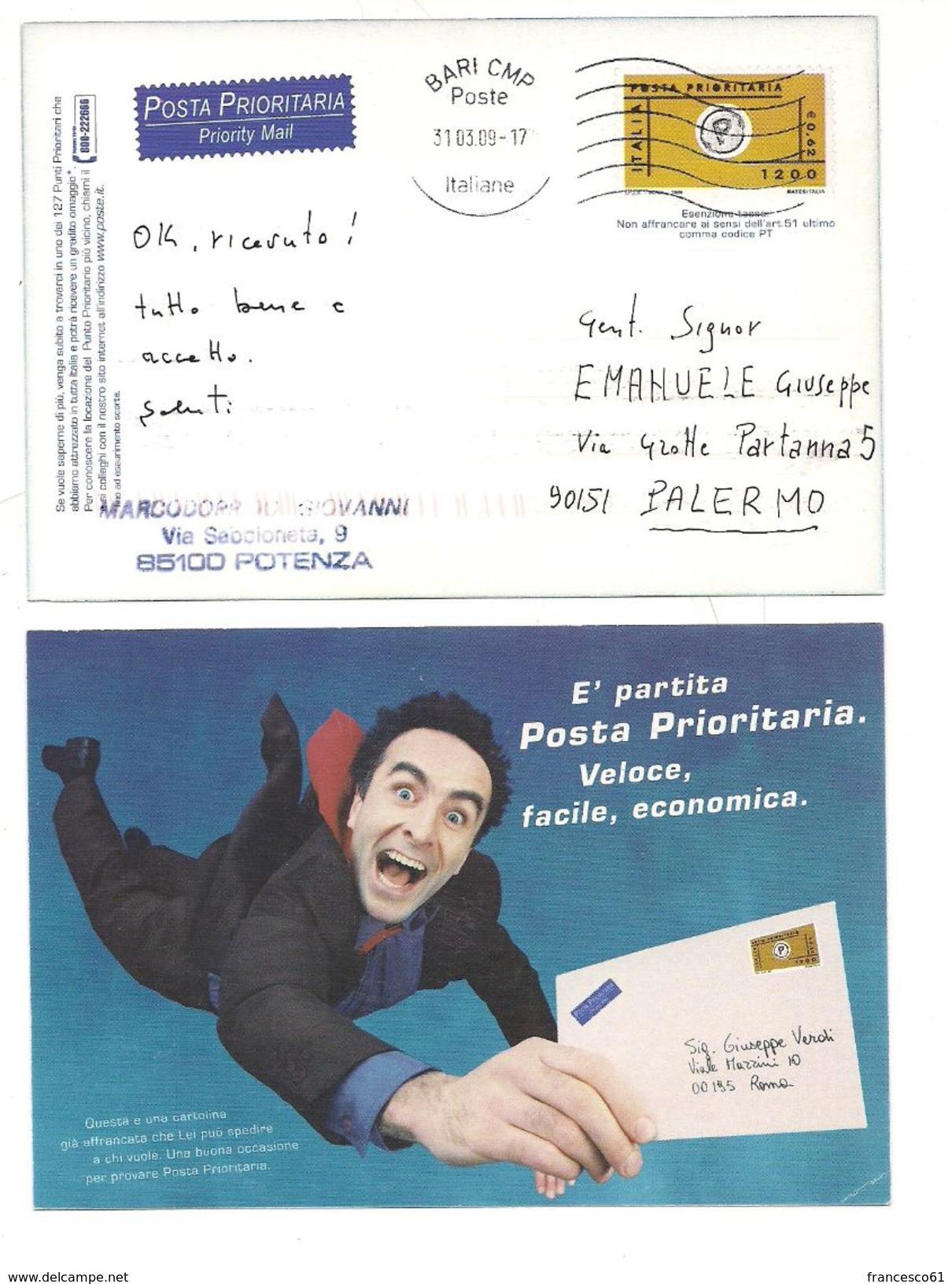 1958) Intero Postale Cartolina POSTA PRIORITARIA 2009 Usata - 6. 1946-.. Repubblica