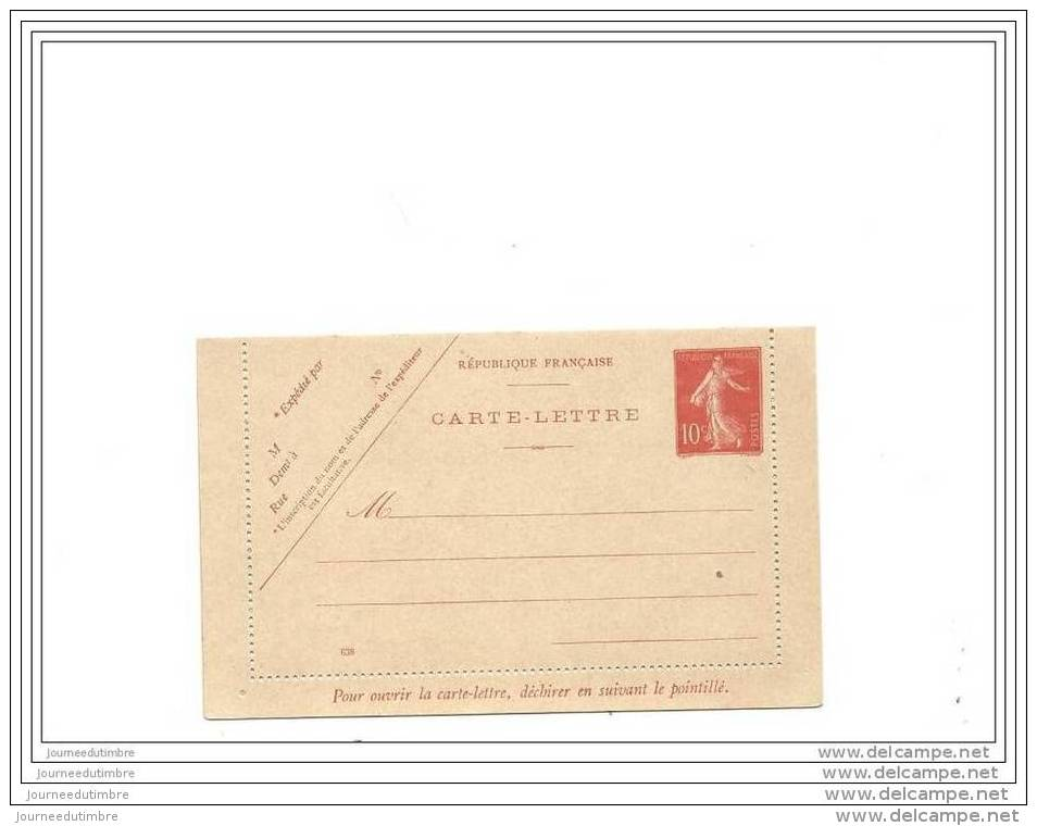 Entier Postal 10c Semeuse Ref Storch A2  Date 638 - Postal Stamped Stationery