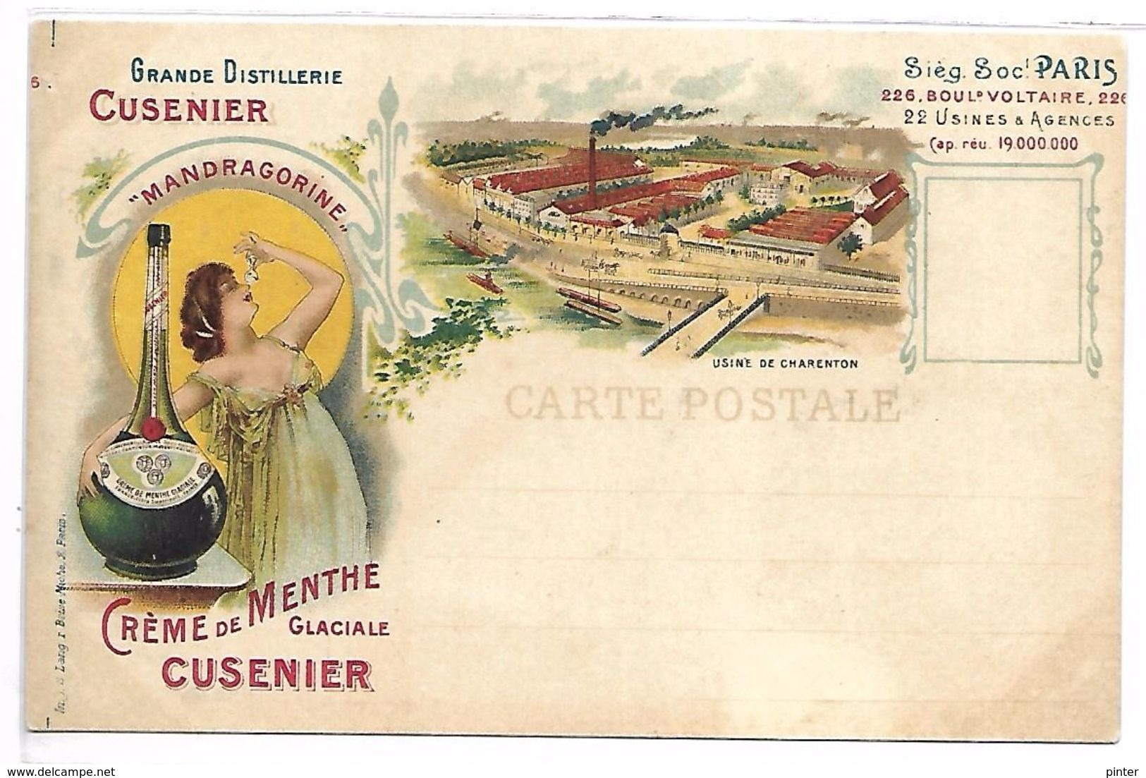 PUBLICITE - Crème De Menthe Glaciale CUSENIER - Werbepostkarten