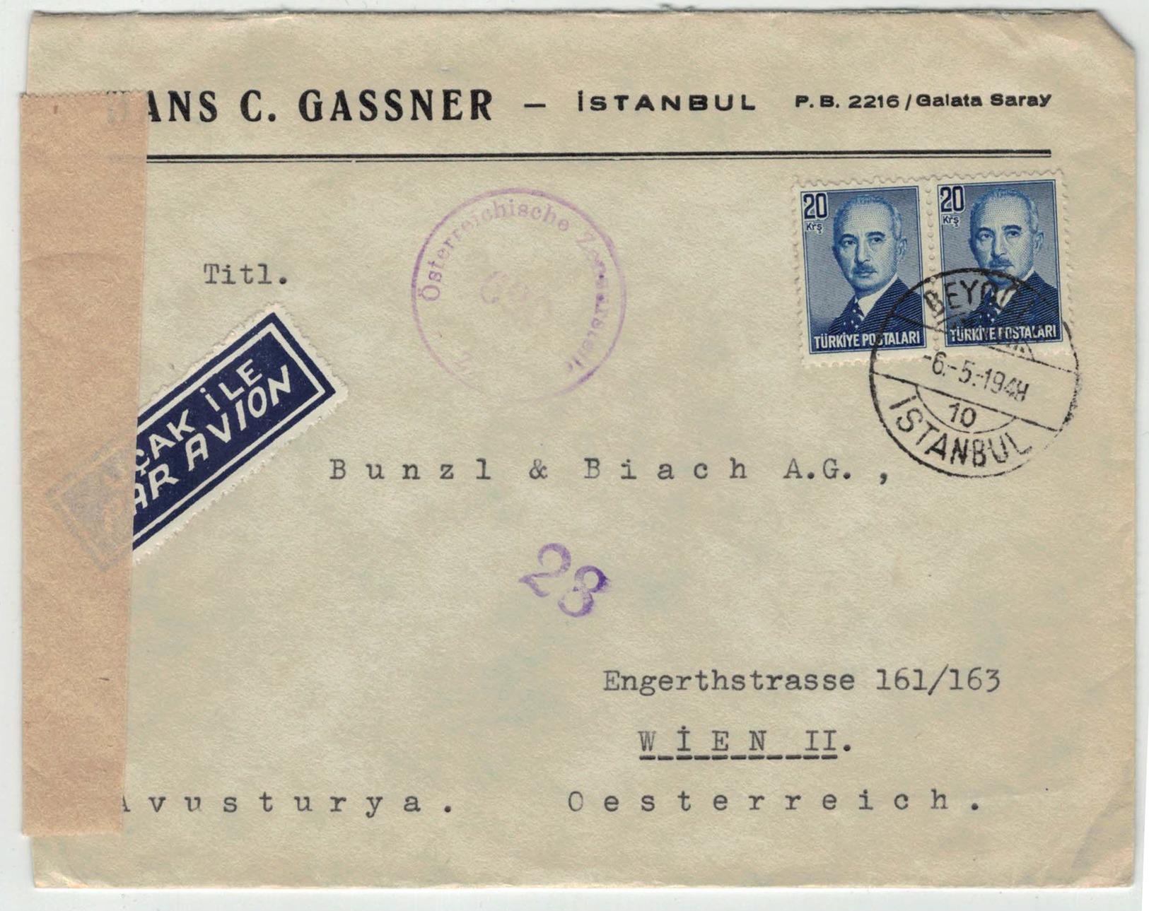Turkey 1948 Air Mail Letter Istanbul To Austria - 1921-... Republiek