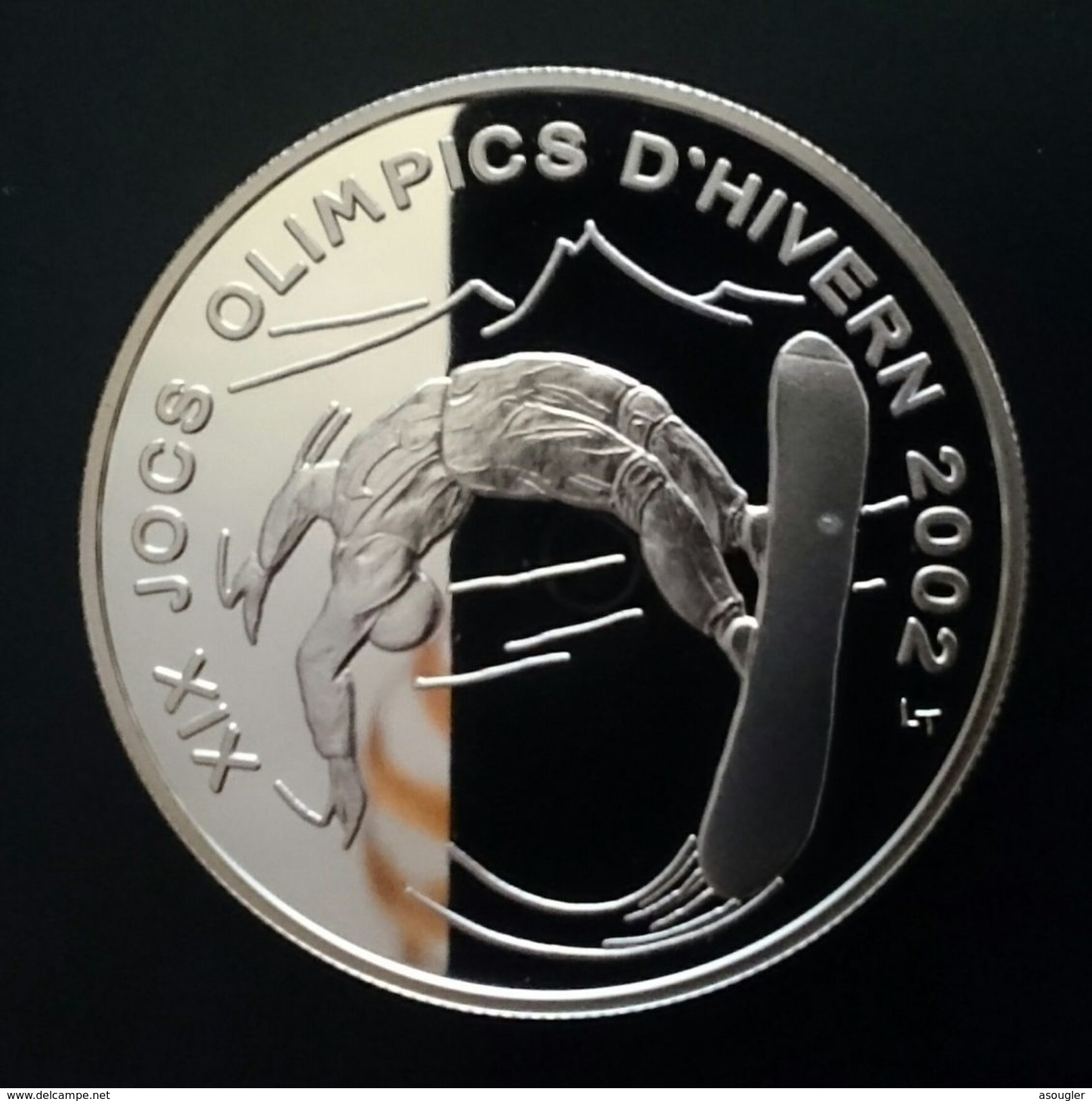 """ANDORRA 10 DINERS 2002 SILVER PROOF """"OLYMPIC GAMES 2002"""" (free Shipping Via  Registered Air Mail.) - Andorre"""