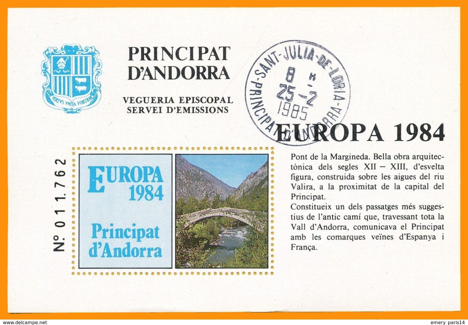 Andorra Viguerie Andorre 1984 Bloc Feuillet 9 Europa, Oblitéré Le 25-02-1985 Saint-Julia-de-Loria (agence Postale França - Timbres