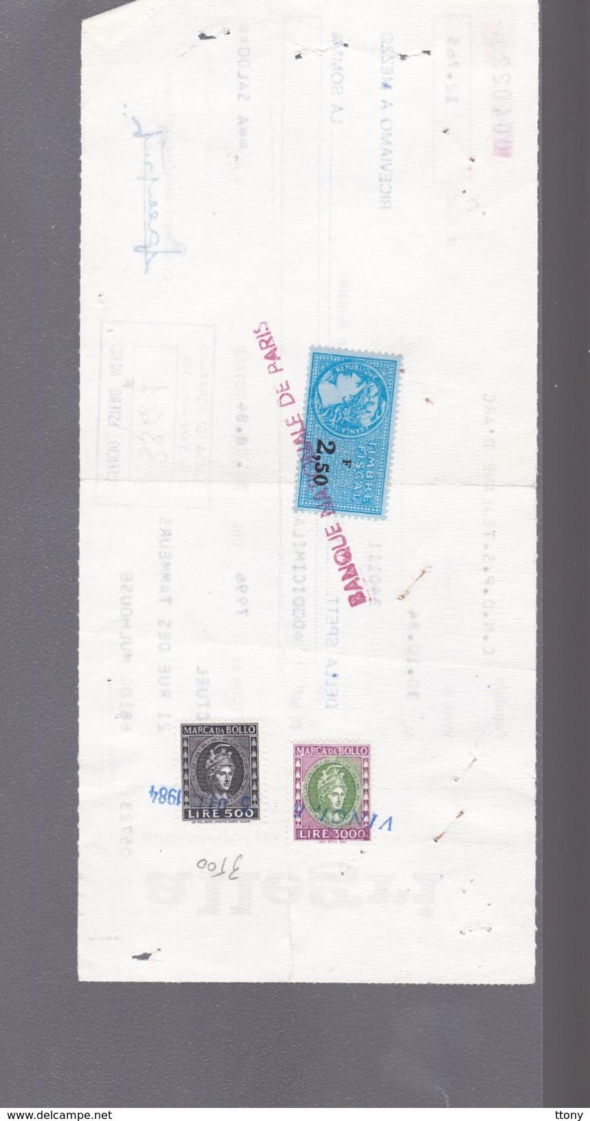 Taxes   Lire 500 Et Lire 3000  Marca Da Bollo    Et 2,50 F France : Acte Banque  1984 - Otros