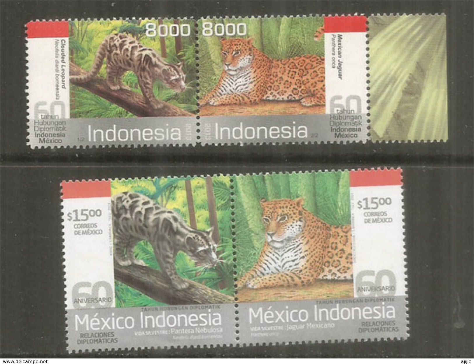TIGRE & Panthère Nébuleuse De Bornéo . Mint ** Stamps From MEXICO-INDONESIA. Joint-issues - Big Cats (cats Of Prey)