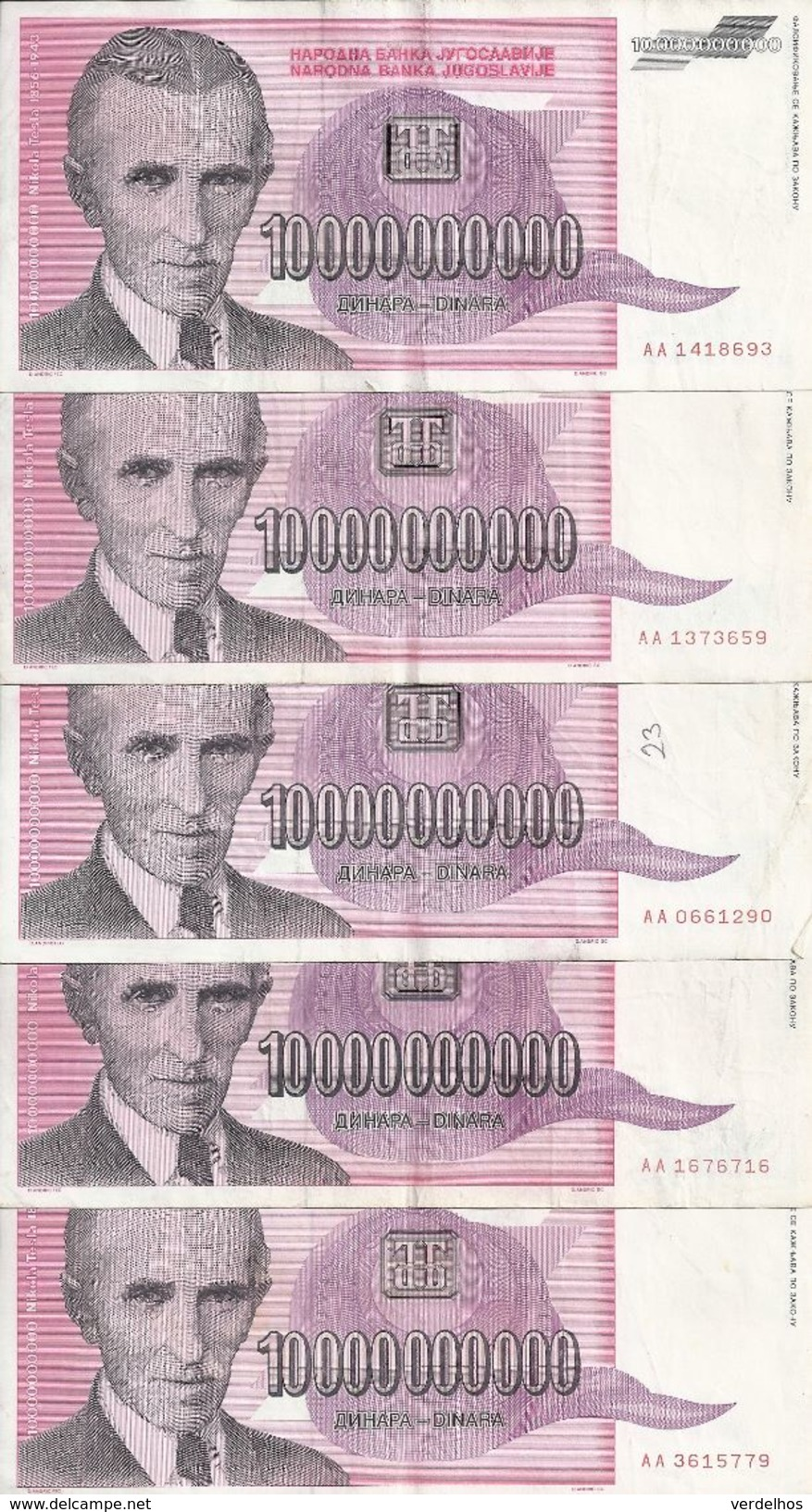 YOUGOSLAVIE 10 MILLIARD DINARA 1993 VF P 127 ( 5 Billets ) - Yougoslavie