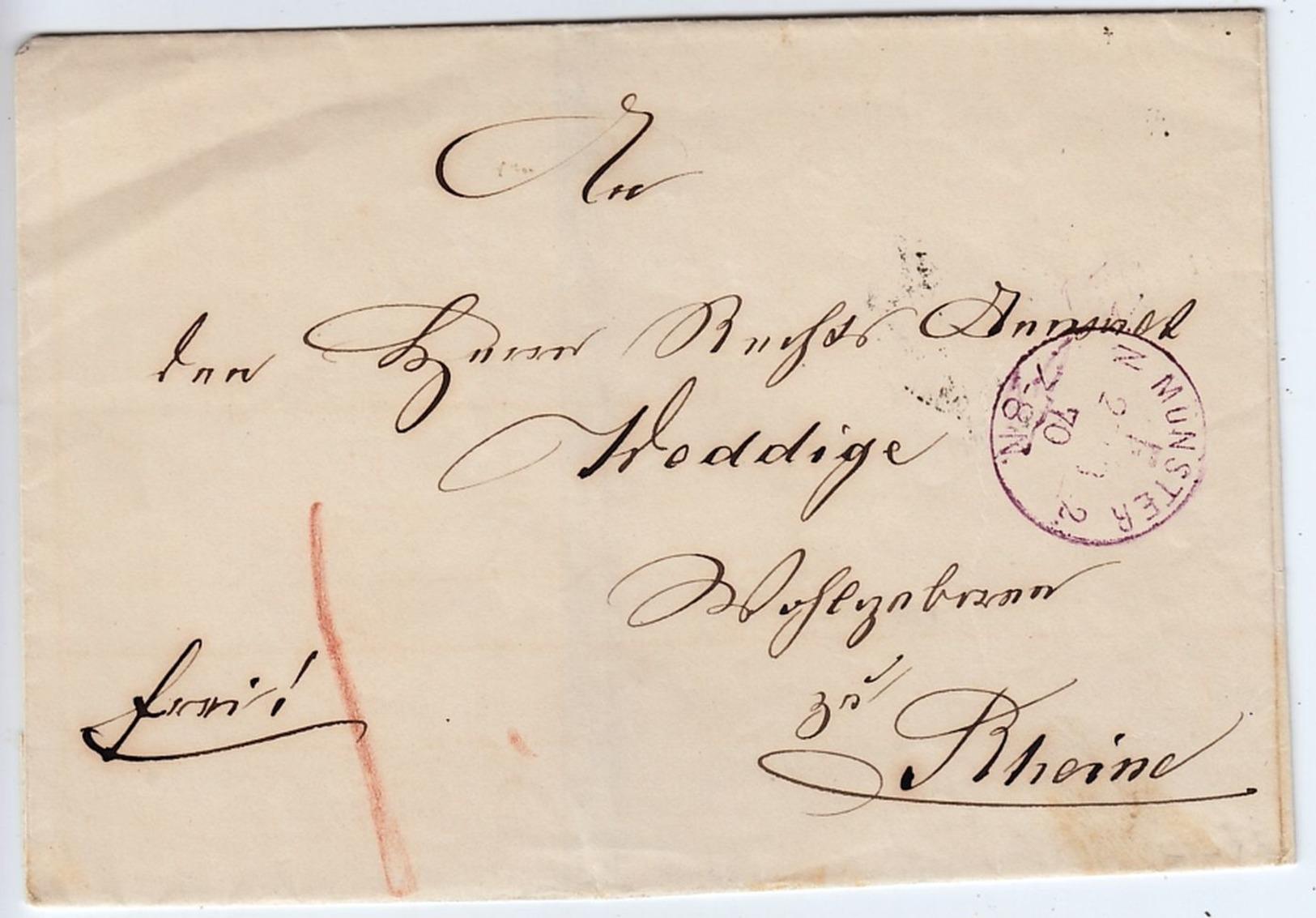 Francostempel Münster In Violett Auf Brief Nach Rheine 1870 - Norddeutscher Postbezirk