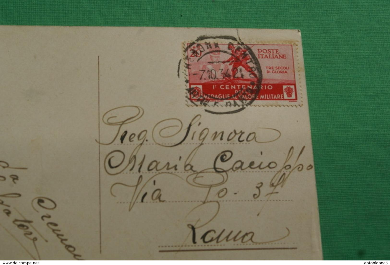 CARTOLINA CREMONA 1934, AFFRANCATA 1° CENTENARIO MEDAGLIE, VIAGGIATA - Cremona
