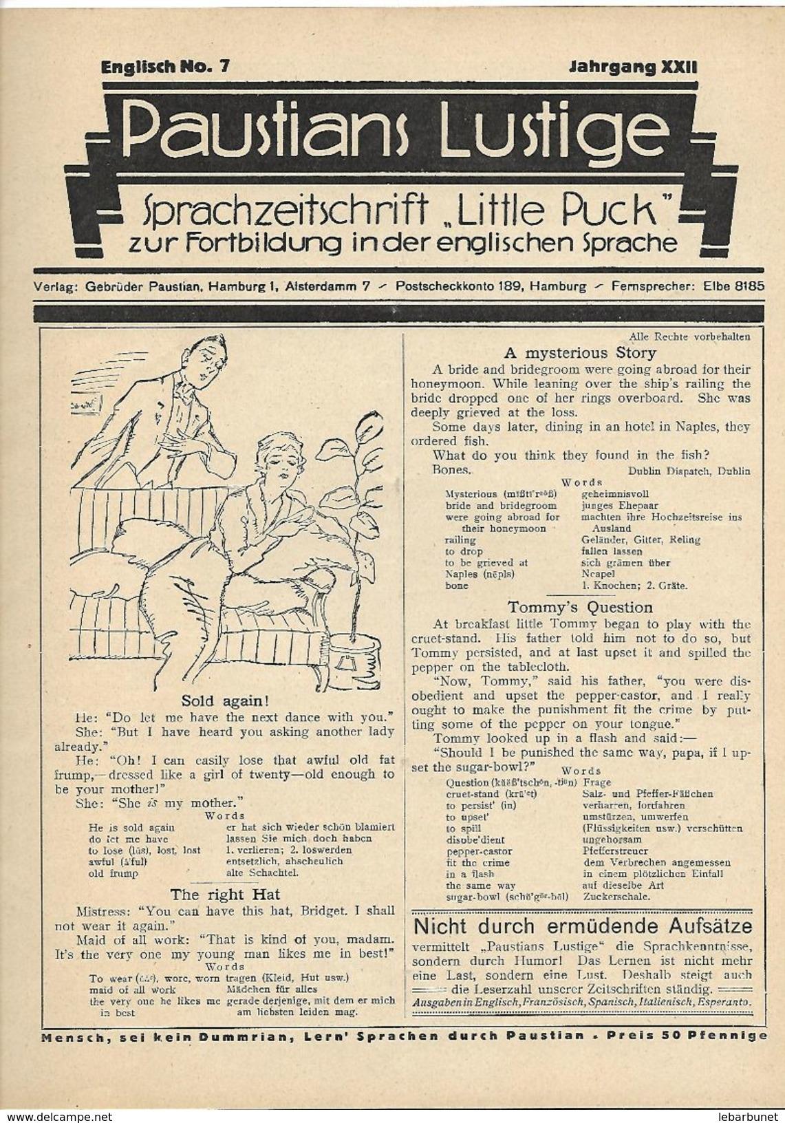 Revues Paustians Lustige 1922 4 Numéros  N°5 -6 -7 - 8 - Loisirs Créatifs