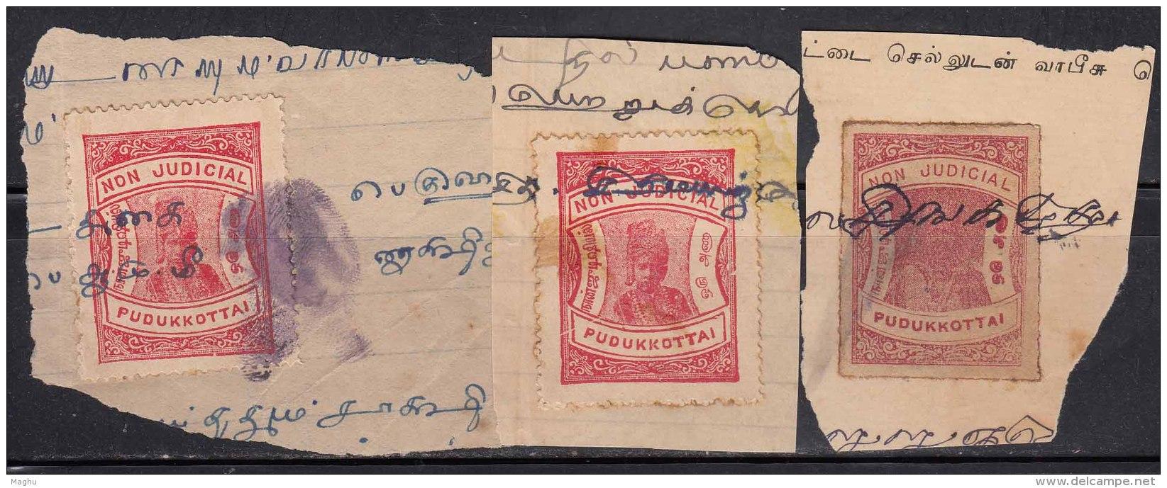 3 Diff. Shade / Colour One Anna Pudukkottai State Used, Non Judicial Fee Revenue, Fiscal, British India State - Autres