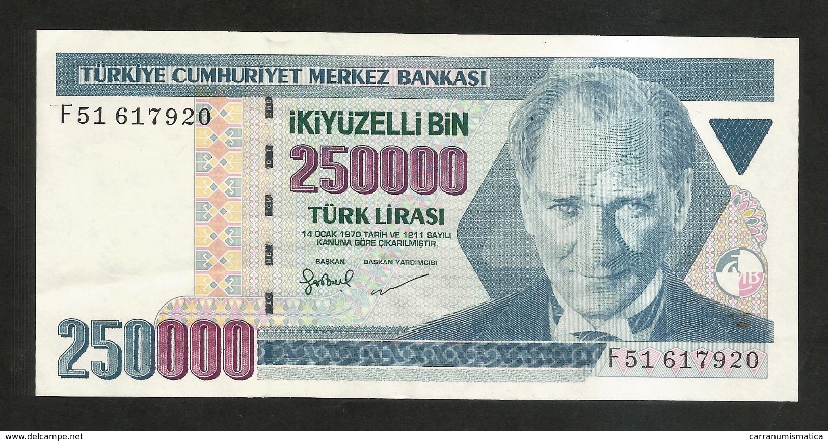 TURKEY - NATIONAL BANK - 250000  LIRA (1998) - Turquie