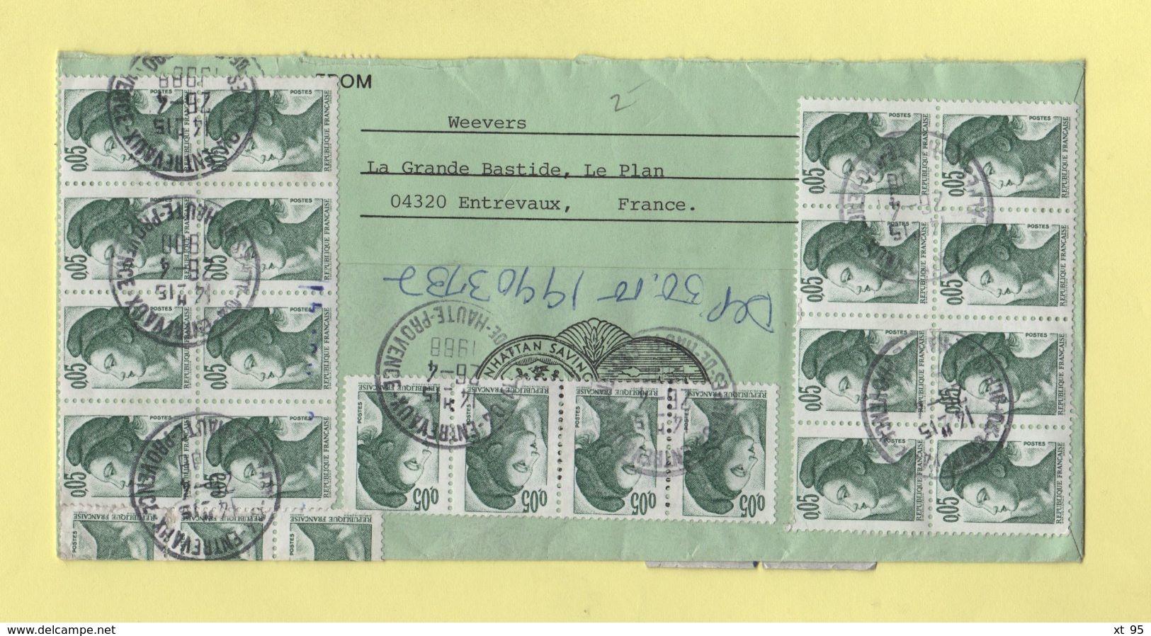 Liberte De Gandon - Entrevaux - Destination New York - 26-4-1988 - Alpes Haute Provence - Postmark Collection (Covers)