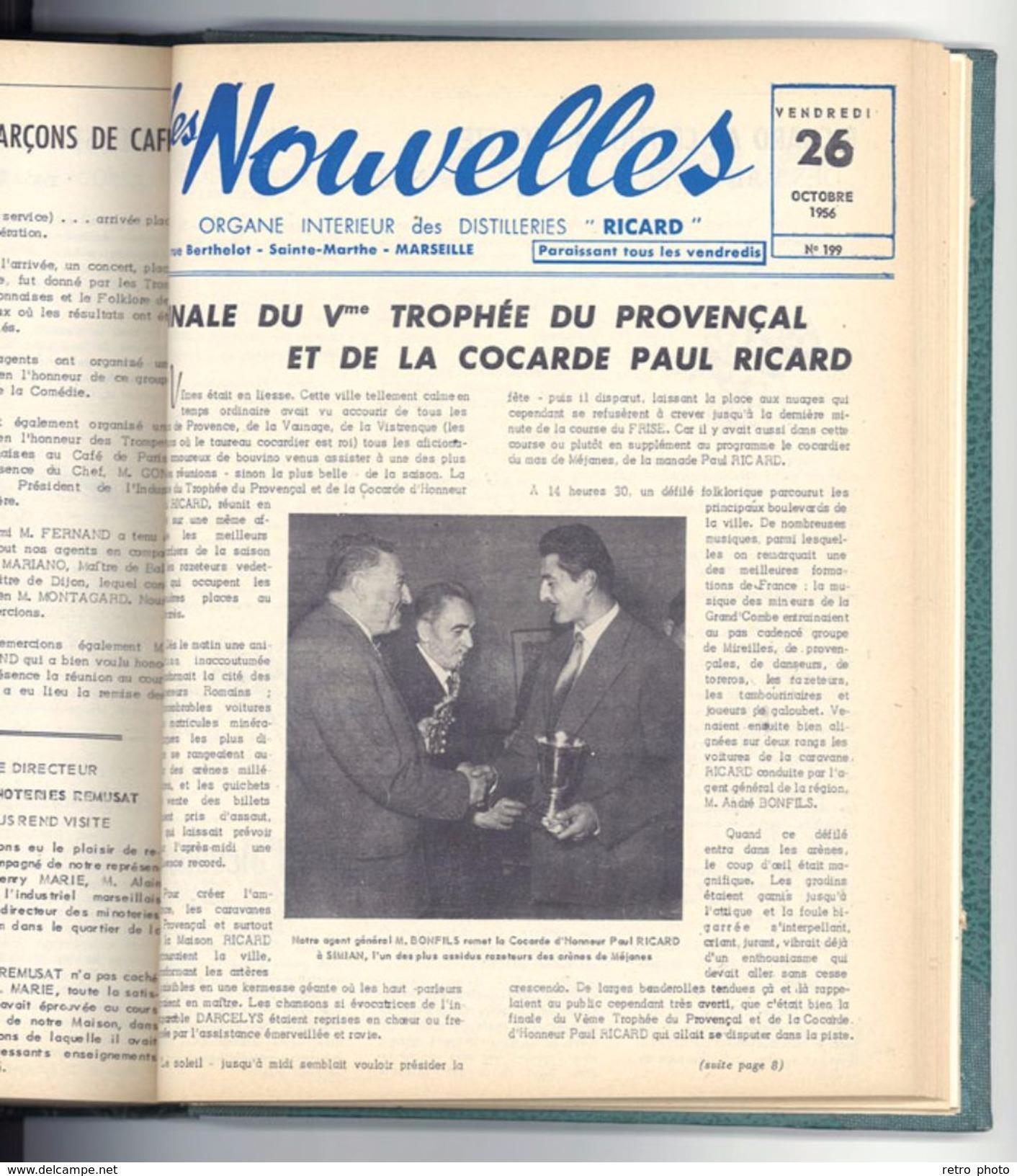 Livre Relié Les Nouvelles, Distillerie Ricard, Sainte-Marthe, Marseille 1956 - Camargue, Pétanque, Manades, Marseille .. - Livres, BD, Revues